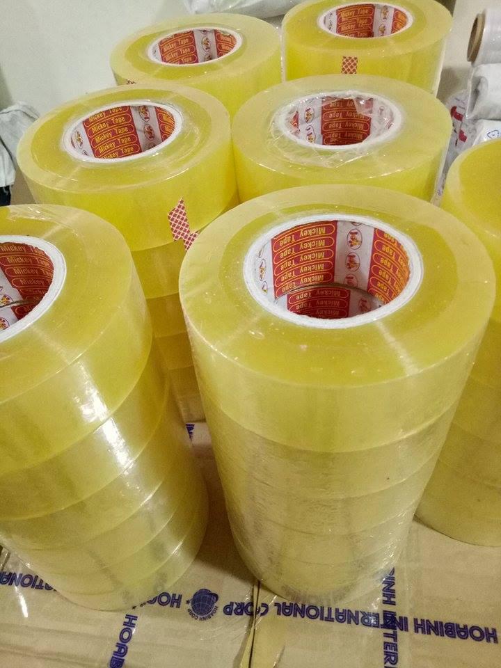 Băng dính trong vàng chanh cuộn to